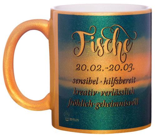 Motivtasse Fische gold