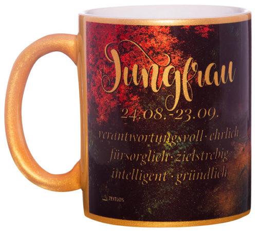 Motivtasse Jungfrau gold