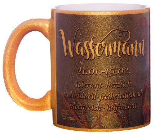 Motivtasse Wassermann gold